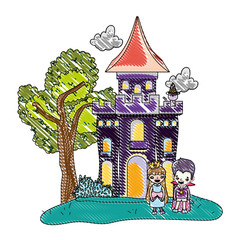 Poster Castle grated horror castle with children costume and cat