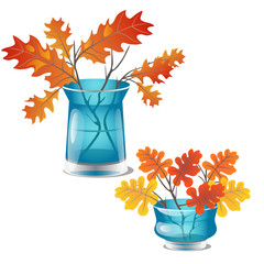 Autumn twigs with yellow oak leaves are in a transparent glass vase with water. Element of interior design on theme of golden autumn isolated on white background. Vector cartoon close-up illustration.