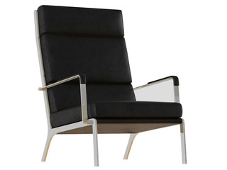 Black leather armchair with high backrest on a white background 3d rendering