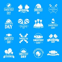 Tasty candy logo set. Simple set of tasty candy vector logos for web design on white background
