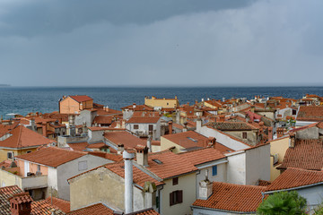 View from the hill to the roofs and houses of Portoroz, Slovenia