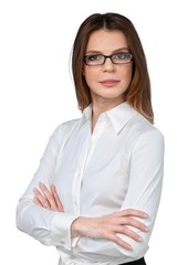 Businesswoman With Glasses And Arms Folded - Isolated
