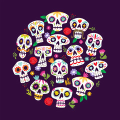 "Colorful mexican skulls background. Cute ""Dia de muertos"" card. Mexican day of the death. Round shape pattern, perfect for backgrounds and greeting card designs."