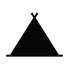 A black and white silhouette of a tent
