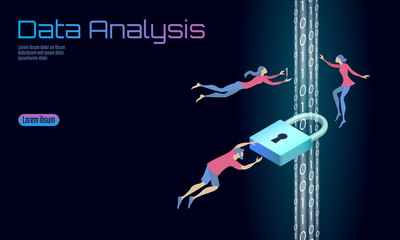 Secure data analysis processing business concept. Personal information safety isometric cartoon padlock binary code flow. People man work problem solving. Web banner background vector illustration