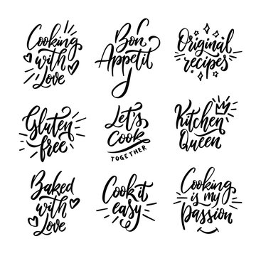 Cooking related quotes collection. Vector illustration.