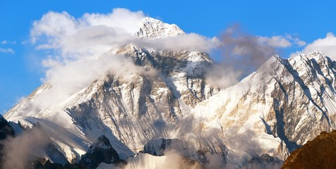 mount Everest and Lhotse evening panoramic view