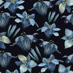 Seamless pattern of different lily flowers and buds on dark background