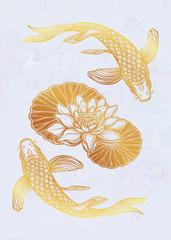 Ethnic fish Koi carp with water lotus flowers