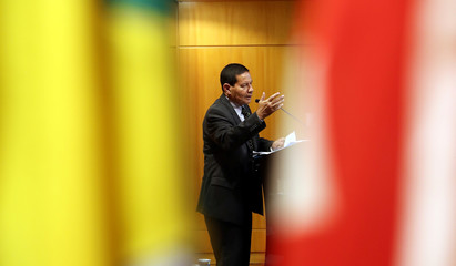 Hamilton Mourao, vice presidential candidate of Jair Bolsonaro, attends a meeting with real estate businessmen in São Paulo