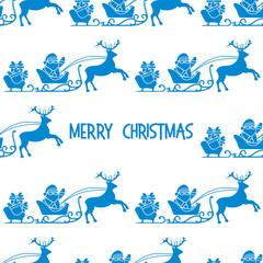 Christmas 2019 seamless pattern Santa Claus, gifts