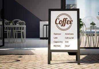 Blackboard Outside Café Mockup
