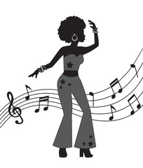 black silhouette of woman in disco style. A woman dances and is dressed in flared trousers and has curly hair