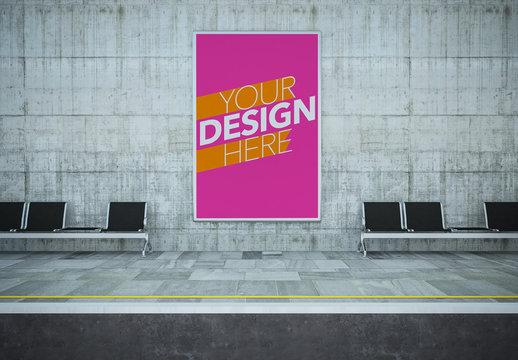 Advertisement in Underground Station Mockup