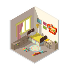 Vector 3d isometric childrens bedroom interior cross section with furniture, toys. Shelves with books, train and cubes on the floor. Room with elements for kids isolated on white background