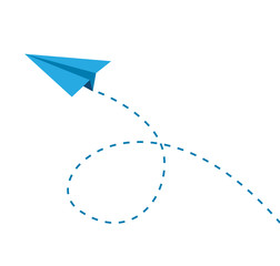 blue paper airplane flies on a white background