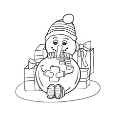 Outlined coloring funny snowman. Coloring book page for children - snowman with mobile phone in hands