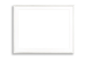 Blank white picture frame isolated on white background.