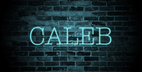 first name caleb in blue neon on brick wall