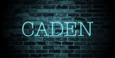first name caden in blue neon on brick wall