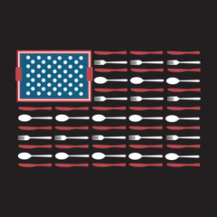 USA United States American Flag Made of Spoons Forks Knives Serving Tray and Plates Foodie