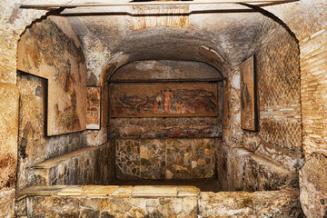 The basin of the frigidarium inside the Seven Wise Men's spas in the archaeological excavations of Ancient Ostia - Rome