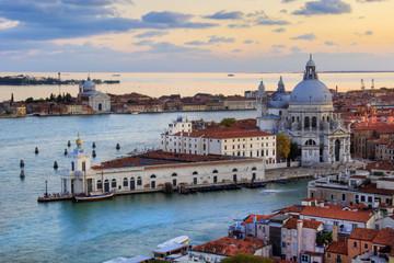 Beautiful views of Santa Maria della Salute and the Venetian lagoon in Venice, Italy