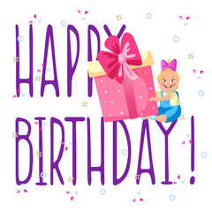 Birthday card with images of funny kid and lettering Happy birthday. Invitation card design. Vector illustration