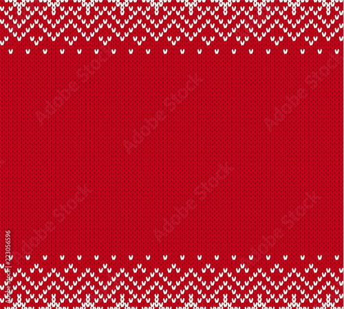 Christmas Knit Geometric Ornament With Empty Place For Text Knitted