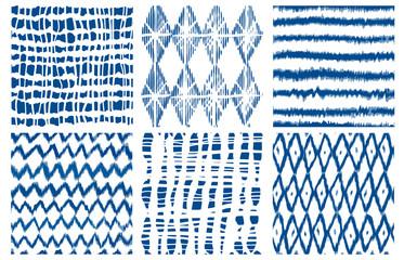Shibori dye tie geo vector seamless pattern indigo