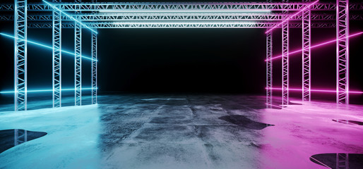 Modern Abstract Sci Fi Futuristic Stage Construction With Neon Glowing Purple And Blue Lights On Concrete Wet Reflection Floor Empty Wallpaper 3D Rendering