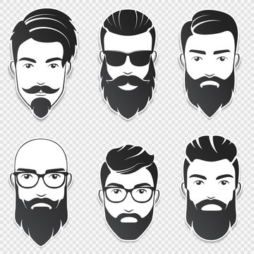Set of vector bearded hipster men faces with different haircuts, mustaches, beards. Trendy man avatar, emblem, male icon or logo. Soft shadows stickers isolated on the transperant background.