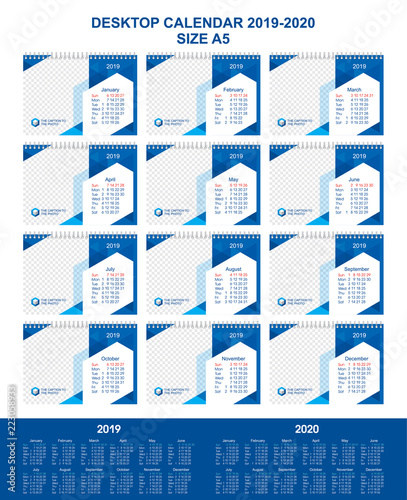 Desk Calendar For 12 Months 2019 2020 Year Modern Graphic Design