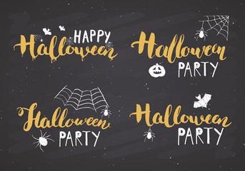 Halloween greeting cards set. Lettering calligraphy sign and hand drawn elements, party invitation or holiday banner design vector illustration on chalkboard background