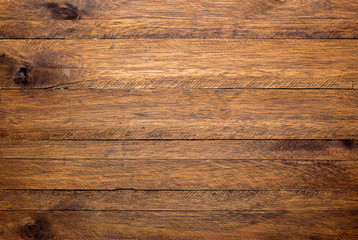 Brown wood table background, lots of contrast, wooden texture Wall mural