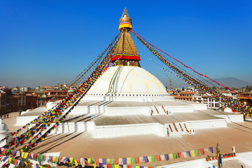 stupa with prayer flags