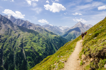 Panorama trail of Vent in the Oetztal Nature Reserve, Austria – This trail is part of the long distance hiking trail E5 crossing the European Alps from Germany to Italy.