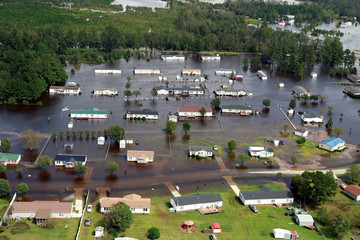Houses sit in floodwater caused by Hurricane Florence, in this aerial picture, in Lumberton
