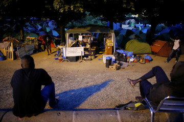 Tents where migrants live are seen in the downtown of Nantes