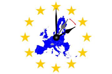 Europa Zeitumstellung Europakarte und Uhrzeiger