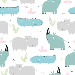 Childish seamless pattern with cute African animals. Vector hand drawn illustration.