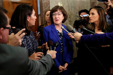 Senator Susan Collins (R-ME), talks to reporters about the Supreme Court nomination of federal appeals court judge Brett Kavanaugh on Capitol Hill in Washington