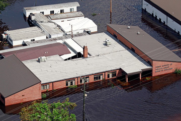 Building sits in floodwater caused by Hurricane Florence in Lumberton