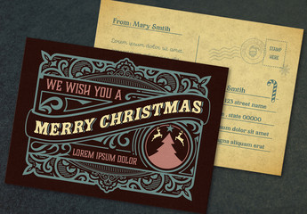 Christmas Postcard Layout with Ornamental Elements