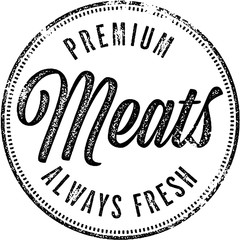 Premium Meats Vintage Butcher Shop Stamp
