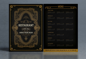 Restaurant Menu Layout with Ornamental Elements