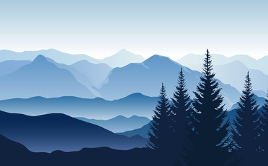 Fototapete - Vector blue landscape with silhouettes of misty mountains and hills and trees