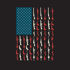 USA American Flag United States Made of Guns and Rifles in Place of stars and stripes Memorial 4th of July Fourth Independence Day Freedom
