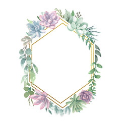 Watercolor Geometric Frame