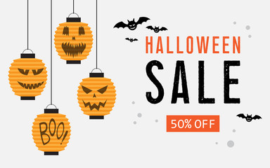 Halloween sale web banner with balloons.